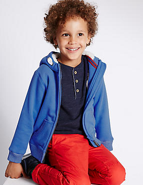 Zipped Through Cotton Blend Hooded Sweat Top (1-7 Years)