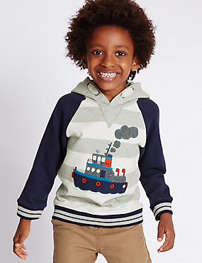 Pure Cotton Boat Appliqué Hooded Top (1-7 Years)