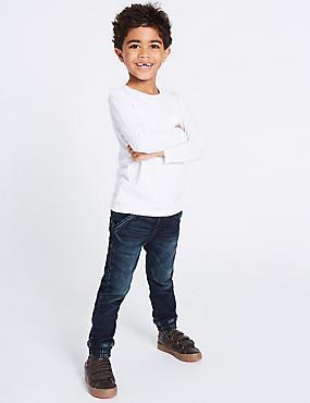 Cotton Rich Cuffed Hem Jogger Jeans (3 Months - 5 Years), DARK DENIM, catlanding