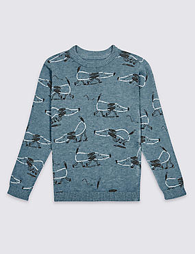 Pure Cotton Dog Print Jumper (3 Months - 7 Years)