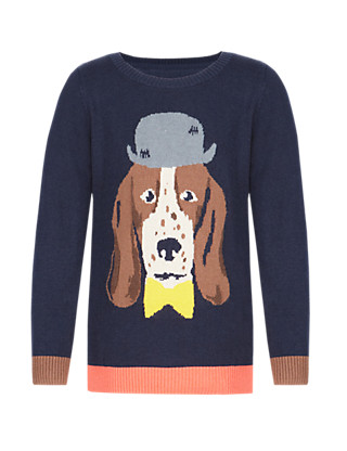 Dog Intarsia Jumper with Cashmere (1-7 Years) Clothing