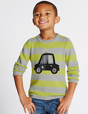 Car Print Jumper with Sound (1-7 Years)