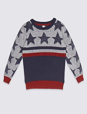 Pure Cotton Star Print Jumper (3 Months - 5 Years)