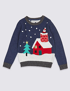 Cotton Rich Christmas House Print Jumper (3 Months - 5 Years)