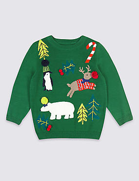 Pure Cotton Christmas Jumper (3 Months - 7 Years), GREY, catlanding