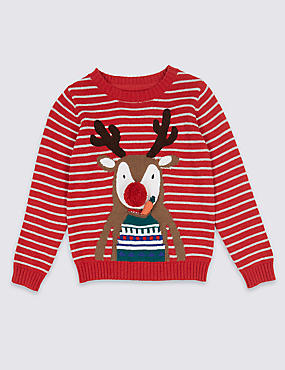 Pure Cotton Reindeer Jumper (3 Months - 5 Years)