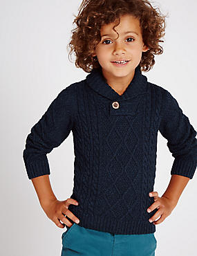 Pure Cotton Shawl Neck Knitted Jumper (1-7 Years)