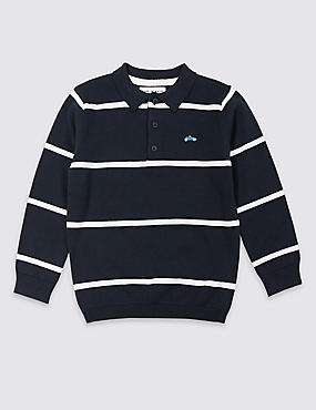 Pure Cotton Polo Shirt (3 Months - 7 Years), NAVY, catlanding