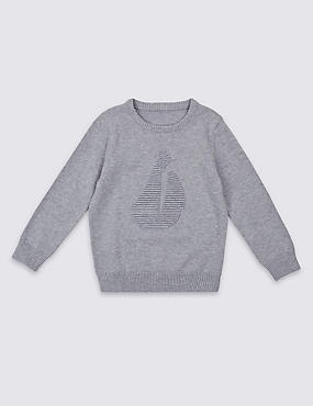 Pure Cotton Textured Jumper (3 Months - 5 Years)