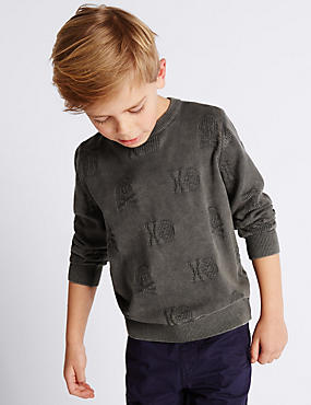 Pure Cotton Textured Skull Washed Look Jumper (1-7 Years)