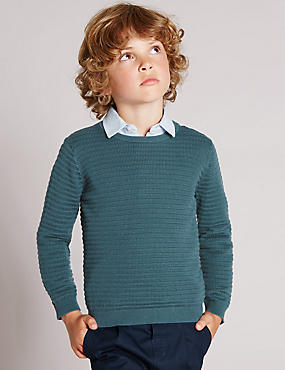 Pure Cotton Crew Neck Jumper (1-7 Years)
