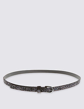 Kids' Faux Leather Glitter Belt (8-14 Years)