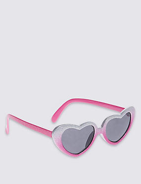 Kids' Glitter Heart Shape Sunglasses (Younger Girls)