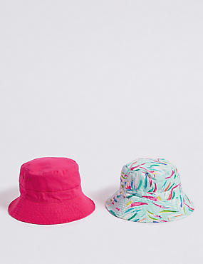 2 Pack Pure Cotton Summer Hats (3-14 Years)