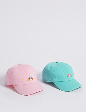 Kid's 2 Pack Pure Cotton Baseball Caps (3 - 14 Years)