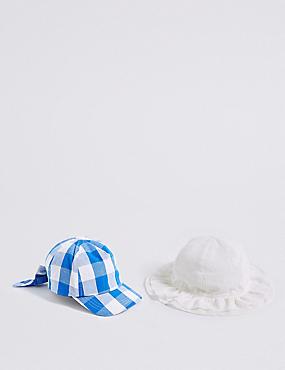 Kids' 2 Pack Summer Hats (3 Months - 6 Years), WHITE MIX, catlanding