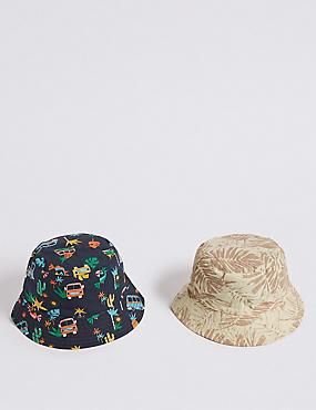 Kids' 2 Pack Summer Hats (3 Months - 6 Years), NAVY MIX, catlanding