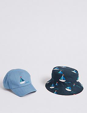 Kids' 2 Pack Summer Hats (3 Months - 6 Years), BLUE MIX, catlanding