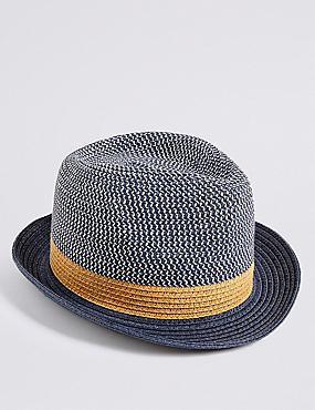 Kids' Trilby Summer Hat (6 Months - 6 Years), NAVY MIX, catlanding