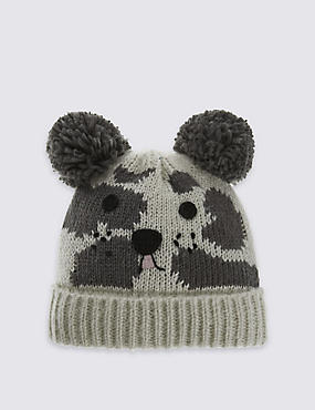Kids' Dalmatian Double Pom Hat