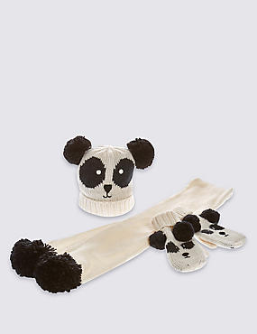 Kids' Panda Hats, Scarf & Gloves Set