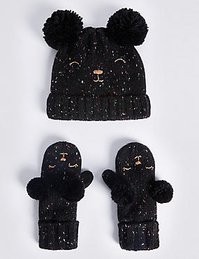 Kids' Wool Rich Double Pom Hat & Mitten Set, NAVY MIX, catlanding