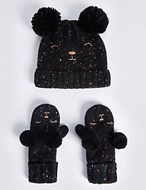 Kids' Wool Rich Double Pom Hat & Mitten Set