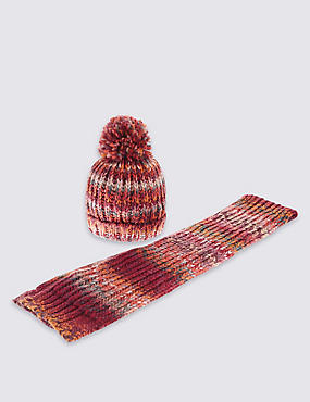 Kids' Multi Stitch Hat & Scarf Set