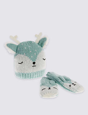 Kids' Reindeer Hat & Mittens Set