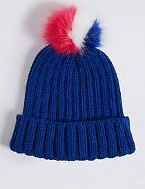 Kids' Faux Fur Pom-pom Hat