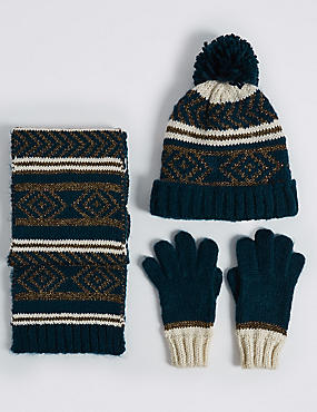 Kids' Fairisle Hat, Scarf & Gloves Set