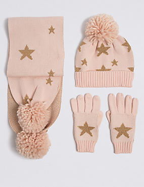 Kids' Star Print Hat & Scarf with Gloves Set, LIGHT PINK MIX, catlanding