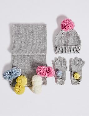 Kids' Pom-pom Hat & Scarf with Gloves Set, GREY MIX, catlanding