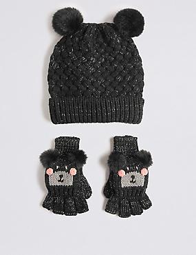 Kids' Hat & Mitten Set , BLACK, catlanding