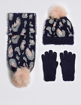 Kids' Animal Hat, Scarf & Gloves Set, NAVY MIX, catlanding