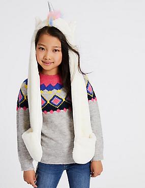 Kids' Unicorn Faux Fur Long Trapper (6-14 Years), CREAM MIX, catlanding