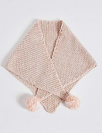 Kids' Pom-Pom Triangle Scarf