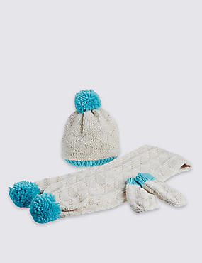 Kid's Hat, Scarf & Gloves Pom Set