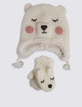 Kids' Polar Bear Hat & Mittens Set