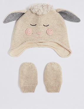 Baby Novelty Hat & Mittens Set, CREAM MIX, catlanding