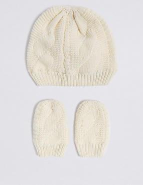 Baby Hat & Mittens Set, CREAM, catlanding