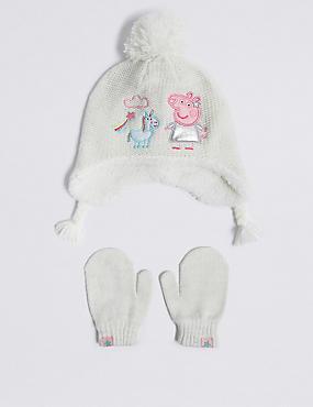 Kids' Peppa Pig™ Trapper Hat & Mittens Set, CREAM MIX, catlanding