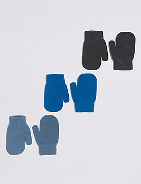 Kids' 3 Pack Magic Mittens, BLUE MIX, catlanding