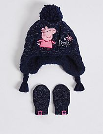 Kids' Peppa Pig™ Hat & Mittens Set