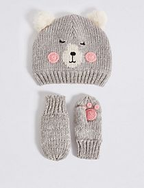 Kids' Bear Hat & Mittens Set