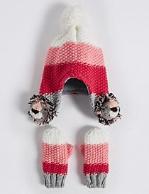 Kids' Trapper Hat & Mittens Set