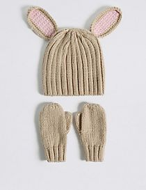 Kids' Bunny Hat & Mittens Set