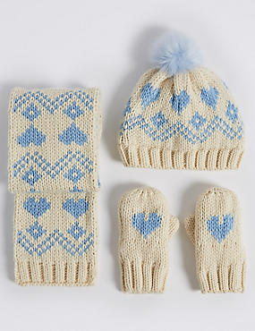 Kids' Fairisle Hat, Scarf & Mittens Set