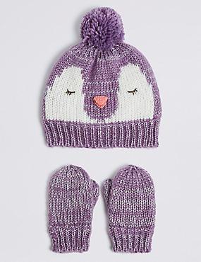 Kids' Novelty Penguin Hat & Mittens Set, LILAC MIX, catlanding