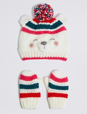 Kids' Novelty Polar Bear Hat & Mittens Set, CREAM MIX, catlanding